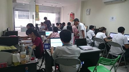 Lớp học tại Trung tâm tin học VT