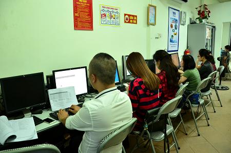 Ảnh lớp tin học thực hành tại Trung tâm tin học VT