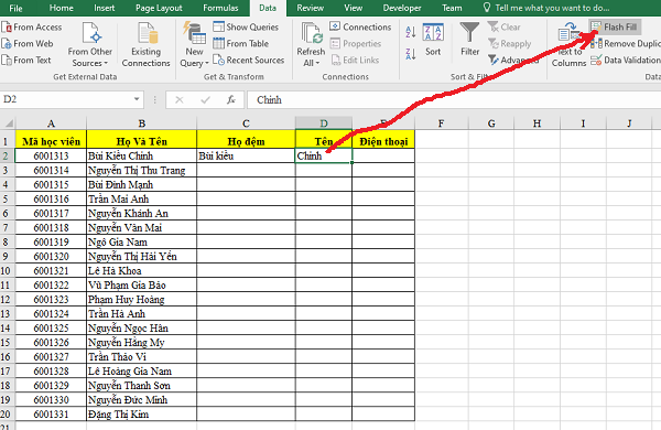 Sử dụng Flash Fill của Excel