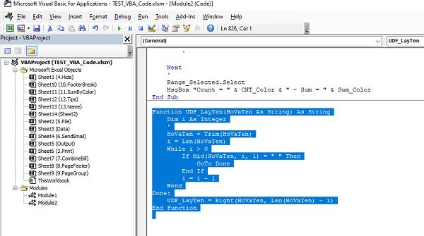 Dùng VBA viết hàm UDF để sử dụng trong Excel